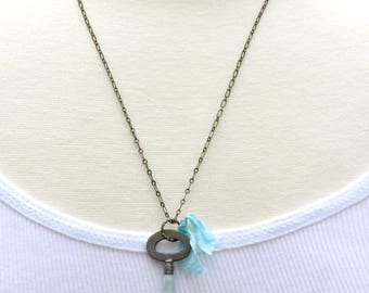Key Necklace, Vintage Skeleton Key, Light Blue Key Necklace, Key to My Heart, Aqua Blue Pendant, Gift for Her, Mother's Day Gift, Steampunk