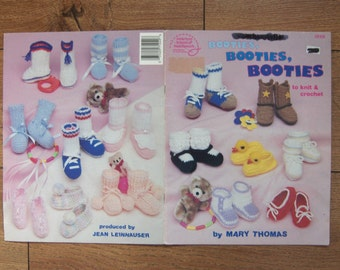 vintage 1987  knit crochet patterns baby booties