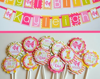 Pink Fish Birthday Party Decorations | Fully Assembled Birthday Decorations | Fish Party | Girly Fish Birthday | Pink Fish Birthday Banner