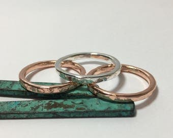 Copper Silver Stack Rings, 14K gold Rings,  stackable Rings, sterling Silver Band Rings
