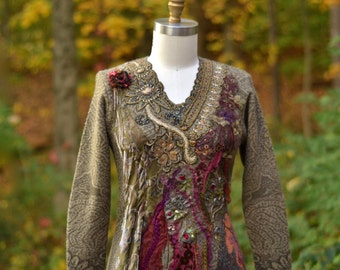 Embroidered beaded boho refashioned Autumn Dress, art to wear, OOAK unique garment. Size Small/ Medium. Ready to ship