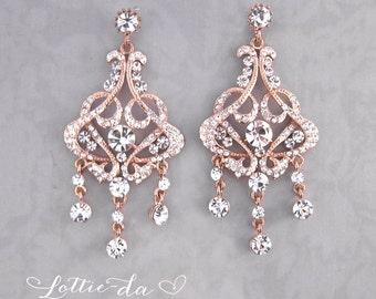 Rose Gold Vintage Style Statement Bridal Earrings, Weddings Earrings Gold, Rose Gold, Silver, Crystal Chandelier Earrings  - 'FELICITY'