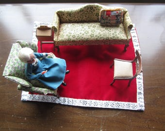 Dollhouse Decor. Green  Floral Print Sofa. Green Floral Print  Chair., Grandmother, Pillow, Sewing Cabinet DH323