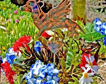 Dachshund Grave Marker Plant Stake / Metal Garden Art / Pet Memorial / Garden Copper Art / Angel Decor / Yard Art / Indoor Outdoor Sculpture