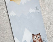 Custom Growth Chart Canvas Painted Mountains Forest Animals Owls Fox