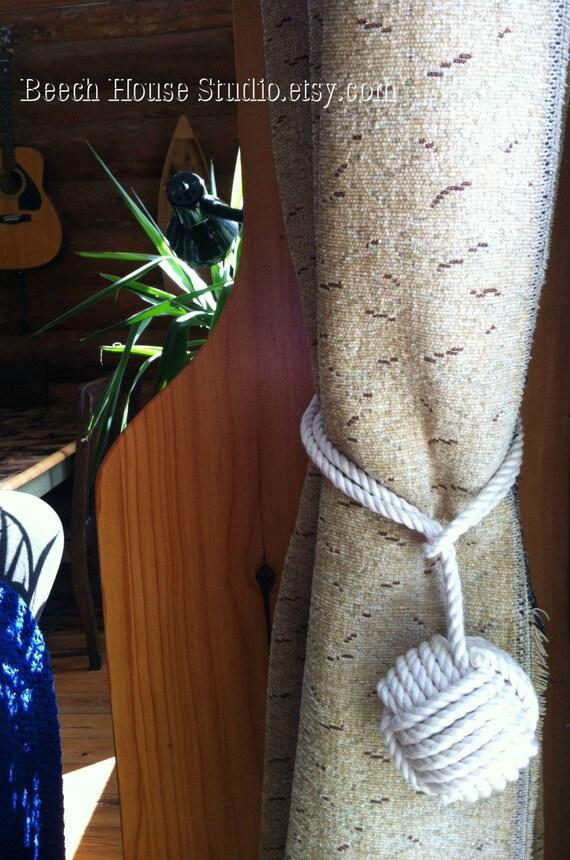 1 Cotton Rope Curtain Tie Back -  Pure Cotton Rope Tieback - Nautical Tieback-  Cream Curtain Ties- Beach Curtain Tiebacks - Nautical Decor