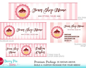 Pink Cupcake Etsy Cover // Bakery Etsy Shop Banner Set // Cute, pink, sweet cupcake graphics