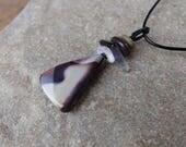 Reversible Mookaite, pebble, Amethyst Smoky pendant necklace - purple & sand gem stone jewelry eco friendly, handmade in Australia - crystal
