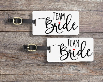 Team Bride Luggage Tag Metal Tag Single Tag or set, Bridesmaids, Maid or Matron of Honor, Man of Honor wedding party gift