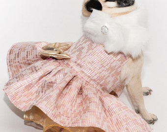 Dog Dress XXSmall to Large - Pink, Ivory and Beige Party Dress