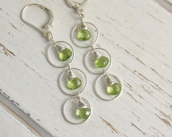 Earrings with Peridot Teardrops and Sterling Silver Loops CE-257