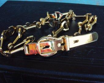 vintage metal belt skinny Accent Belt Body Jewelry Link Linked Chain Gold Metal Mod Modernist Metal Belt Buckle 1960s 1970s Style