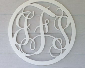 Circle Wooden Monogram Letter Home Wedding Guestbook Nursery Decor - Unpainted - You Pick Font