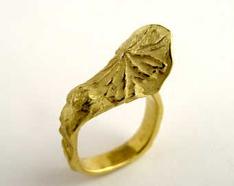 Gold Ring 18KT Gold Textured Ring Gold Ring With Flower Gold Flower