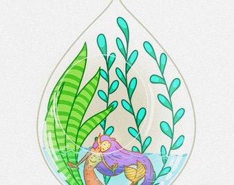 Mermaid fantasy succulent terrarium greeting card aquatic