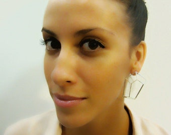 Geometric Earrings, Geometric Jewelry, Geometric Stud earrings, Gifts for Her, Architecture Golden Earrings, Bridal Earrings, Free Shipping