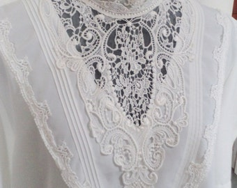 wedding top,  victorian top, 80s does victorian, INCREDIBLE lace, victorian costume, edwrardian costume, excellent condition