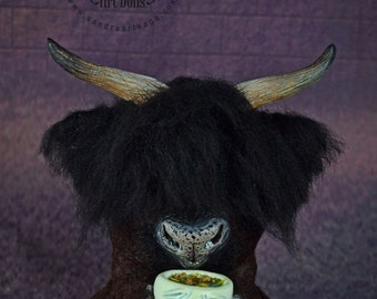 RESERVED! - Creature & Bowl - art doll, Minotaur, labyrinth, bowl, art toy, cold soup, fantasy, fantasy creatures, creatures, monster, doll