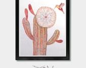 Arizona. Attraktion. Phoenix, Kolibri Kunst, Kaktus-Art, Kaktus Wandkunst, Wüste Wandkunst, Kolibri Wandkunst, Kolibri-Druck, Kaktus