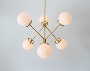 Modern Brass Chandelier, 6 White Glass Globes, Industrial Art Lighting, BootsNGus Lighting and Home Decor