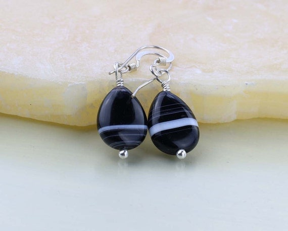Onyx Gemstone Earrings, Black and White Banded Onyx Earrings, Sterling Silver, Black Onyx, Each Stone is Unique, Root Chakra
