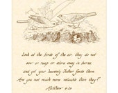 MATTHEW 6:26 - Hand Written Calligraphy Wall Art Vintage Verses 8x10 Parchment Sepia Ispirational Wall Art - Words of Jesus Birds & Branches