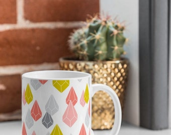 Modern Geometric Coffee Mug // Ceramic Coffee Cup // Tea Cup // Kitchen Drinkware // Home Decor // Raining Gems Enchanted Design // Jewels