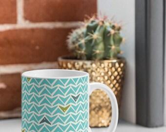 Aqua Geometric Coffee Mug // Tea Cup // Ceramic Coffee Cup // Kitchen Drinkware // Home Decor // Take Flight Design // Turquoise Mug // Geo