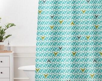Aqua Shower Curtain // Bathroom // Take Flight Design // Modern Geometric // Shower // Bathroom Decor // Turquoise Bathroom // Dorm Decor