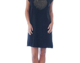 Black t shirt dress, Cooper moon Black printed T dress, handmade dress, Swarovski sparkle stone
