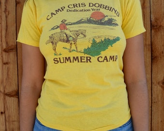 Vintage 80s Boy SCOUT SUMMER CAMP Tee Xs