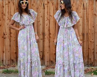 Vintage 70s Candi Jones ROMANTIC Floral MAXI Dress S M