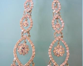 Chandelier Earrings, Bridal Earrings, Long Dangly Earrings, Wedding Jewelry, Bridal Jewelry, Crystal Drop, Pierced, Rhinestone, Deco, Gatsby
