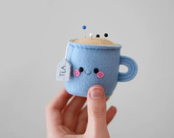 Blue Teacup Pincushion, 3D Tea Accessory, Kawaii Pincushion, Blue Gift, Craft Supply