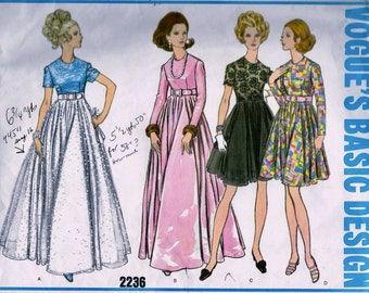 UNCUT Vintage Vogue  Pattern 2236 // GLAMOROUS High Waisted  Cocktail or Evening  Dress * Size 14 * bust 36