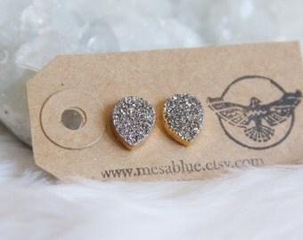 Druzy Earrings, Silver Titanium, Teardrop Druzy, Post, Stud Earrings