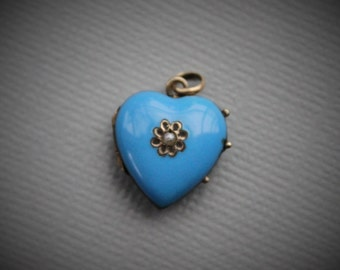 Victorian Blue Enamel Seed Pearl Heart Locket with Plaited Hair Under Glass