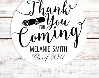Thank You For Coming - Personalized Round Graduation Party Sticker Labels - Available in 8 Different Sizes - Diploma Graduation Sticker