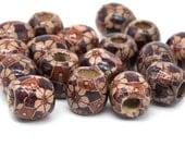 Wood Barrel Beads, 50pcs, 16x15mm, Macrame Beads,  Patterned Wood Beads, 6mm Hole -B741