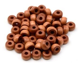 Wood Crow Beads, Light Brown,  50 pcs, 10 x 6mm, 4mm Large Hole -B880