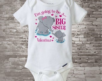Big Sister Onesie Elephant I'm going to Be a Big Sister Onesie or Tee Shirt with unknown sex baby Pregnancy Announcement (03182012c1)