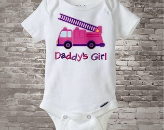 Daddy's Girl Fire truck Onesie - Pink and Purple Fire Truck Shirt or Onsie - Baby Girl daughter of a Fireman Bodysuit 01212016a