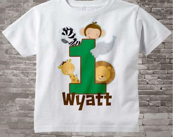 Boy's One Year Old Jungle Birthday Shirt or Onesie with Name, 1st Birthday Shirt, Personalized Jungle Birthday Theme 03182014a