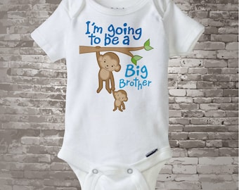 Big Brother Onesie Bodysuit or Shirt - Big Brother Monkey Shirt - Personalized Monkey Jungle Theme Onesie or t-shirt (10202011a)