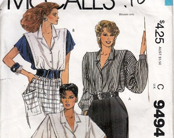 Misses Blouse Mariette Hartley - UNCUT FF 1980s Printed Pattern McCall's 9494 Size 16 Bust 38 ©1985