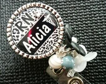 Personalized ID Badge Reels- Rn Lvn Cna - Medical - Black Cheetah Print with Swavorski Rhinestone