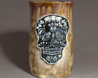 Large Art Nouveau Sugar Skull Stamped Khaki Brown Beige Crystalline Glazed Bone Handle Large Beer Mug Stein
