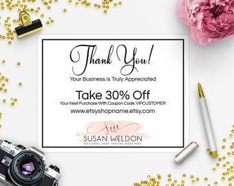 30% OFF SALE Thank You Card - Business Thank You Card - Promotional Card - Branding - Packaging - Etsy Shop Cover - Watercolor 2-017