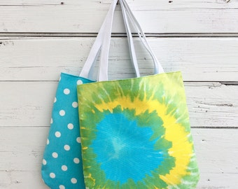 Tie Dye Tote Bag, Reversible Tote Bag, Canvas Tote Bag, Purse, Handbag, Book Bag, Summer Tote Bag, Blue Polka Dot Bag, Jannysgirl