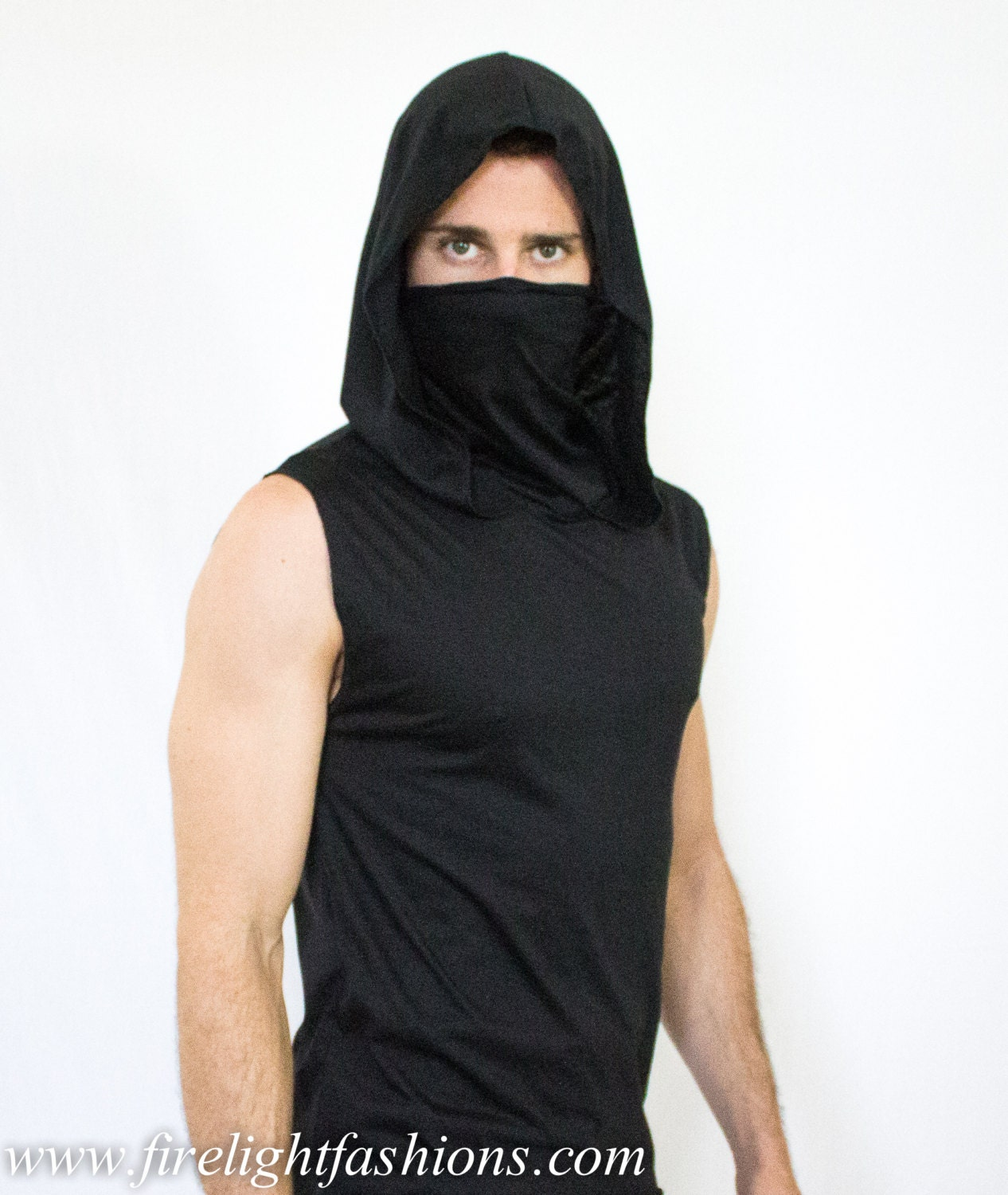 Black t shirt ninja mask - Ninja Sleeveless Hoodie Tank Top Assassin Shirt Built In Ninja Mask Mens Scale